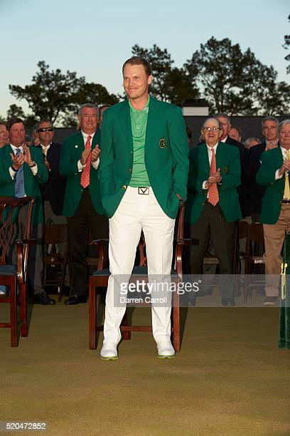 The Masters Danny Willett victorious in green blazer during jacket ceremony at Augusta National Augusta GA CREDIT Darren Carroll