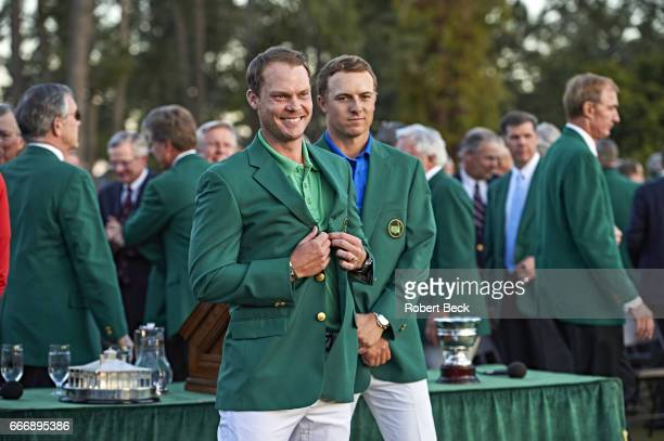 The Masters Danny Willett victorious wearing green blazer during jacket ceremony at after winning tournament Augusta National View of Jordan Spieth...