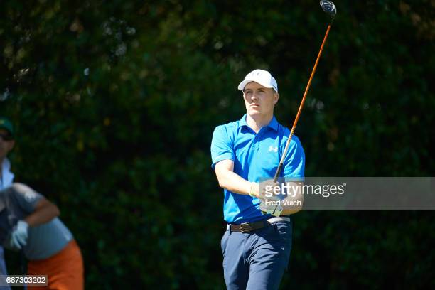 The Masters Jordan Spieth in action during Sunday play at Augusta National Augusta GA CREDIT Fred Vuich