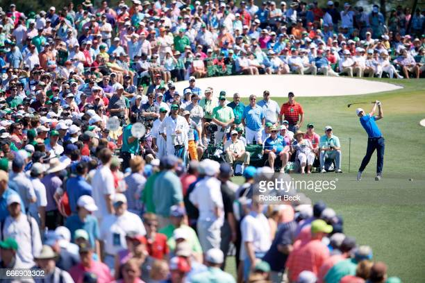 The Masters Jordan Spieth in action on No 3 tee during Sunday play at Augusta National Augusta GA CREDIT Robert Beck