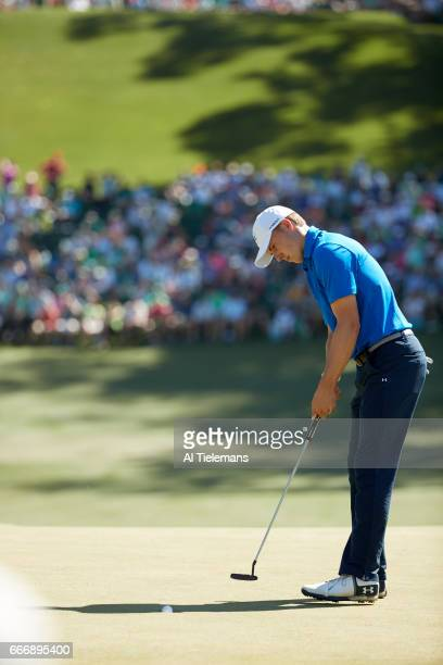 The Masters Jordan Spieth in action putting during Sunday play at Augusta National Augusta GA CREDIT Al Tielemans