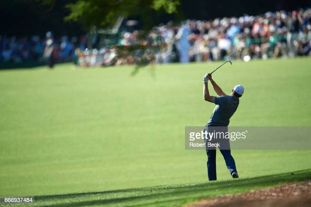 The Masters Jordan Spieth in action second shot on No 13 hole during Friday play at Augusta National Augusta GA CREDIT Robert Beck