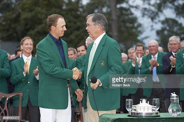 The Masters Jordan Spieth in green blazer with Augusta National chairman Billy Payne during jacket ceremony after winning tournament on Sunday at...
