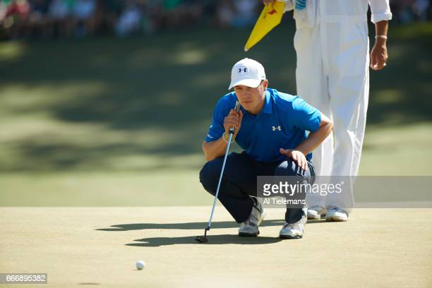 The Masters Jordan Spieth lining up putt during Sunday play at Augusta National Augusta GA CREDIT Al Tielemans