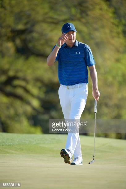 The Masters Jordan Spieth on No 18 green during Saturday play at Augusta National Augusta GA CREDIT Robert Beck