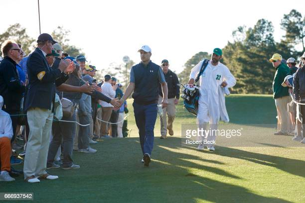 The Masters Jordan Spieth walking on green during Friday play at Augusta National Augusta GA CREDIT Robert Beck