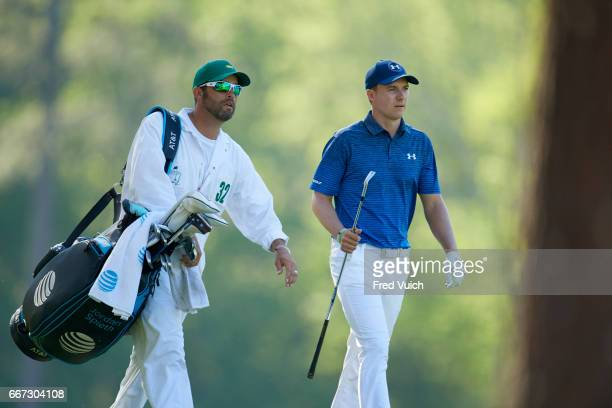The Masters Jordan Spieth with caddie during Saturday play at Augusta National Augusta GA CREDIT Fred Vuich