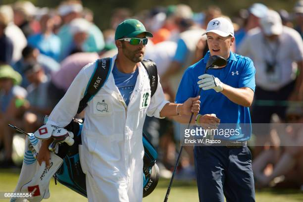 The Masters Jordan Spieth with caddie Michael Greller during Sunday play at Augusta National Augusta GA CREDIT Erick W Rasco