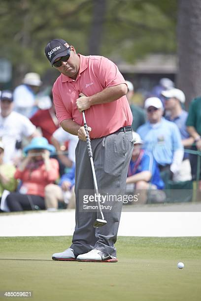 The Masters Kevin Stadler in action putt with anchored putter on green during Friday play at Augusta National Augusta GA CREDIT Simon Bruty