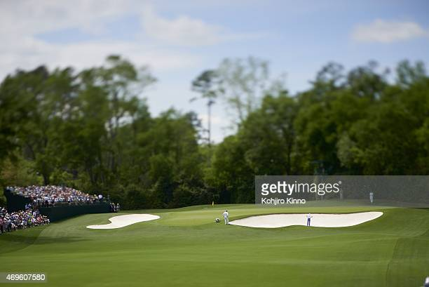 The Masters Overall view of course during Saturday play at Augusta National View of leaderboard Scenic Augusta GA 4/11/2015 CREDIT Kohjiro Kinno