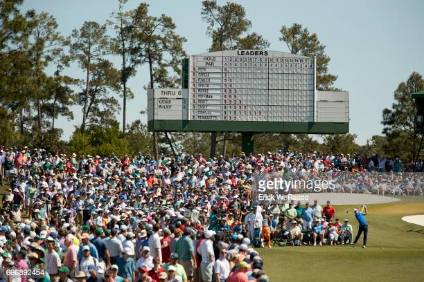 The Masters Overall view of Jordan Spieth in action drive from No 3 tee during Sunday play at Augusta National View of leaderboard in background...