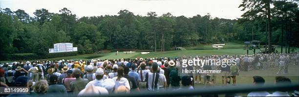 The Masters Panoramic and scenic view of Tiger Woods and Costantino Rocca on No 11 of Amen Corner during Sunday play at Augusta National View of No...