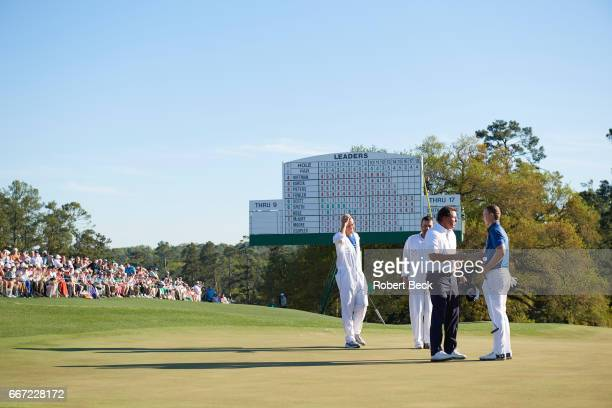 The Masters Phil Mickelson shaking hands with Jordan Spieth on No 18 green during Saturday play at Augusta National Augusta GA CREDIT Robert Beck