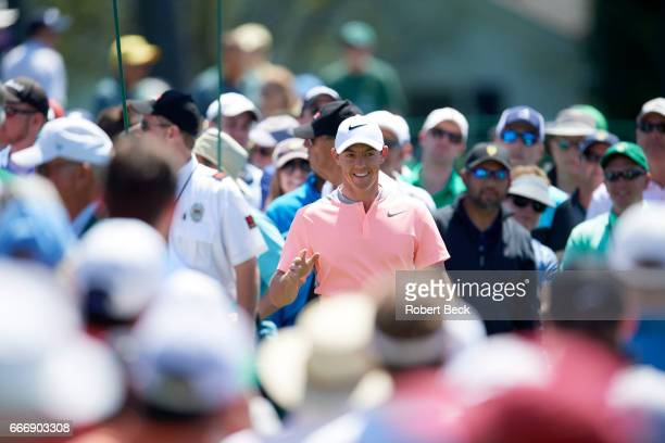 The Masters Rory McIlroy at No 1 tee during Sunday play at Augusta National Augusta GA CREDIT Robert Beck