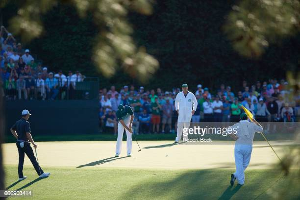 The Masters Sergio Garcia in action eagle putt on No 15 during Sunday play at Augusta National Augusta GA CREDIT Robert Beck