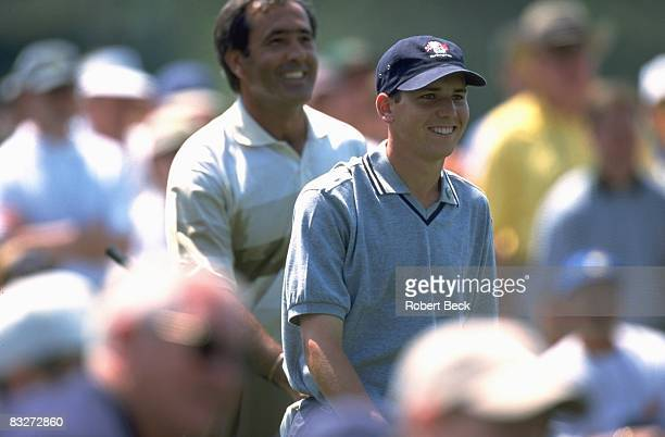The Masters Sergio Garcia with Seve Ballesteros during Wednesday practice round at Augusta National Augusta GA 4/7/1999 CREDIT Robert Beck