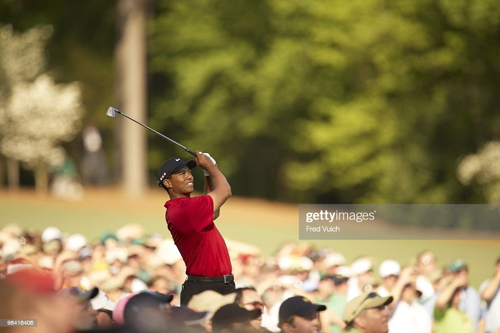 Tiger Woods in action on Sunday at Augusta National. Augusta, GA 4/11/2010