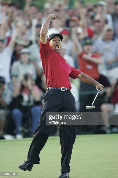 Golf The Masters Tiger Woods victorious after winning playoff and tournament vs Chris DiMarco on Sunday at Augusta National Augusta GA 4/10/2005