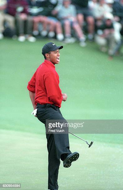 The Masters Tiger Woods victorious during Sunday play at Augusta National Augusta GA CREDIT Fred Vuich