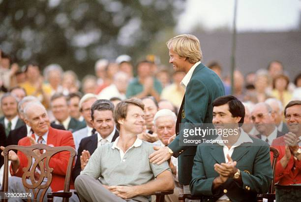 The Masters Tom Watson victorious during green blazer ceremony with Jack Nicklaus and Seve Ballesteros after winning tournament on Sunday at Augusta...