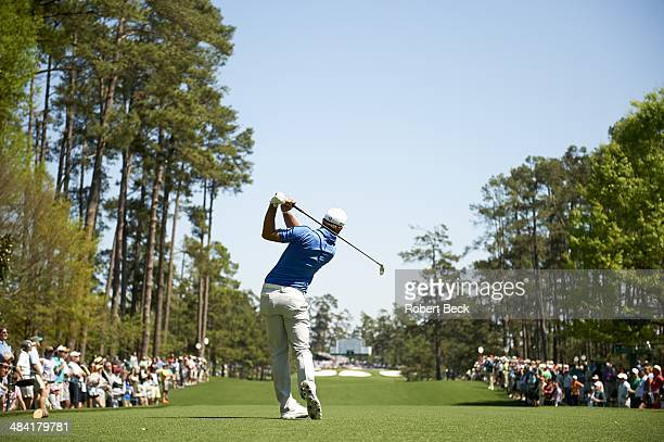 The Masters View from rear of Dustin Johnson in action drive from No 7 tee during Thursday play at Augusta National Augusta GA CREDIT Robert Beck