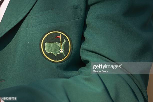 The Masters View of Masters logo on green jacket detail during Saturday play at Augusta National Augusta GA CREDIT Simon Bruty