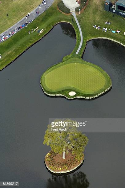 Golf The Players Championship Aerial scenic view of No 17 island green during Thursday play at Stadium Course of TPC Sawgrass Ponte Vedra FL 3/23/2006