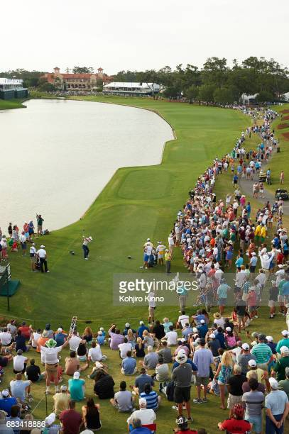 The Players Championship Aerial view of Jordan Spieth in action on No 18 tee during Friday play at TPC Sawgrass Ponte Vedra Beach FL CREDIT Kohjiro...