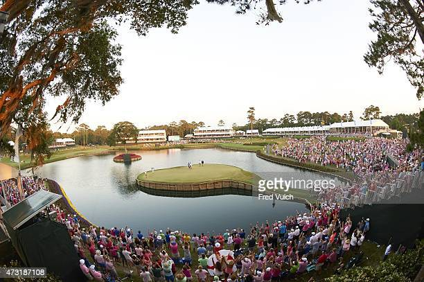 The Players Championship Overall view of Rickie Fowler victorious after sinking putt on No 17 green to win playoff and tournament on Sundayat Stadium...