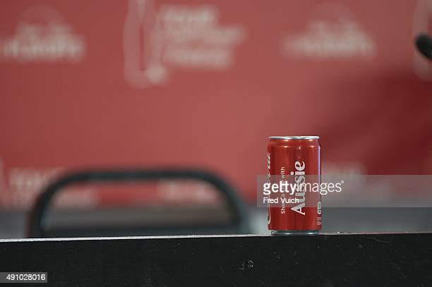 Tour Championship Preview Closeup of Coke can belonging to Jason Day reading SHARE A COKE WITH AUSSIE during press conference after Wednesday...