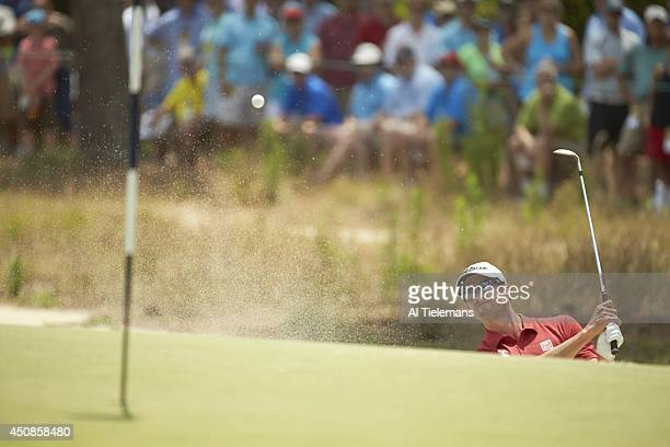 US Open Adam Scott in action from bunker on No 1 hole during Saturday play at Course No 2 of Pinehurst Resort Pinehurst NC CREDIT Al Tielemans