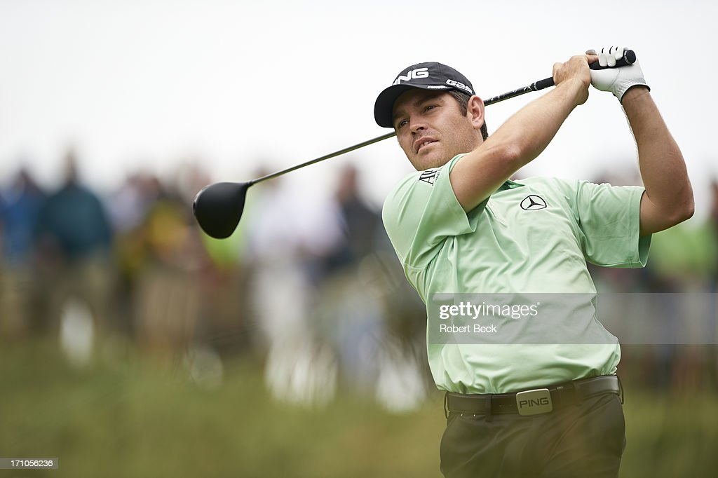 Louis Oosthuizen in action, drive during Thursday play at Merion GC. Robert Beck F163 )