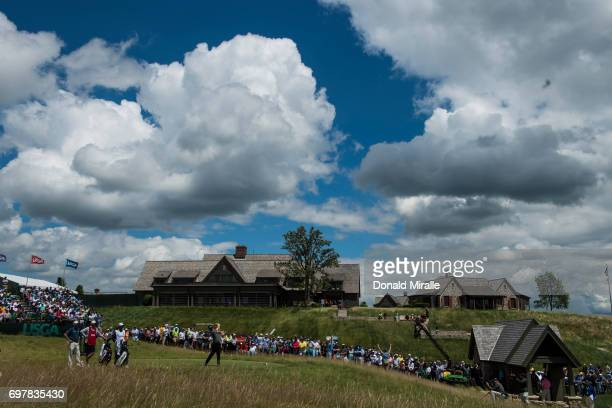 US Open Overall view of Charley Hoffman in action drive on tee No 1 during Sunday play at Erin Hills GC Hartford WI CREDIT Donald Miralle