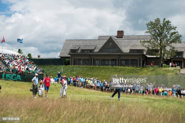 US Open Overall view of Hideki Matsuyama in action drive on tee No 1 during Sunday play at Erin Hills GC Hartford WI CREDIT Donald Miralle