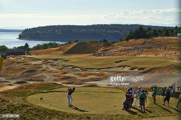 US Open Overall view of Jordan Spieth in action drive from tee on No 14 during play Sunday at Chambers Bay GC University Place WA CREDIT Kohjiro Kinno
