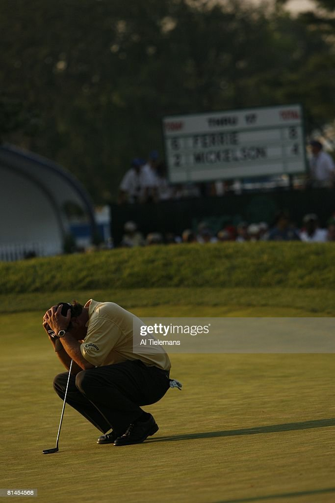 Golf US Open Phil Mickelson upset after making double bogey on No 18 and losing tournament during Sunday play at Winged Foot GC Cover Mamaroneck NY...