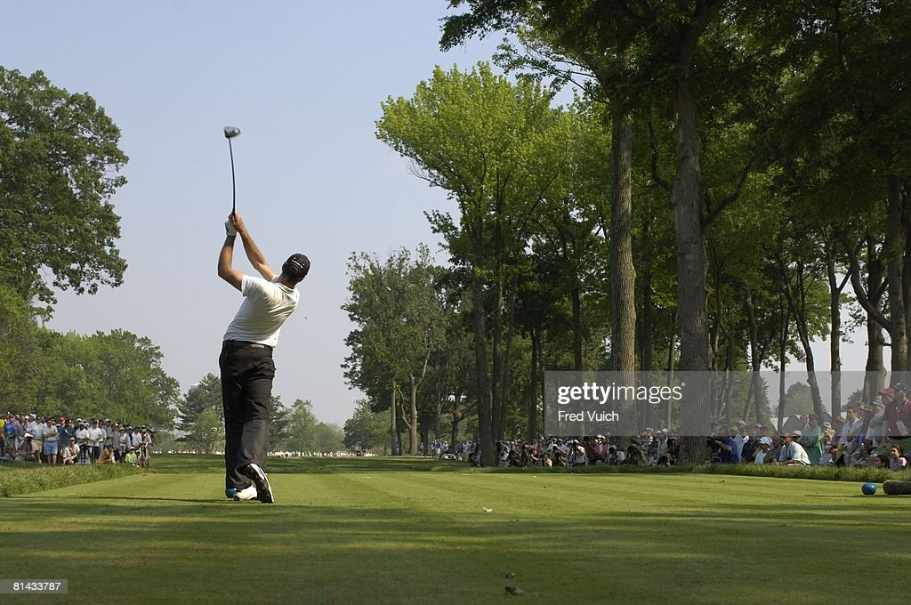 Golf US Open Rear view of Geoff Ogilvy in action drive from tee on Sunday at Winged Foot GC Mamaroneck NY 6/18/2006