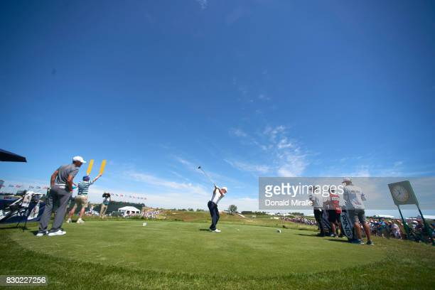 US Open Rear view of miscellaneous drive action during Friday play at Erin Hills GC Hartford WI CREDIT Donald Miralle