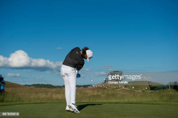 US Open Rear view of Tommy Fleetwood in action during Sunday play at Erin Hills GC Hartford WI CREDIT Donald Miralle