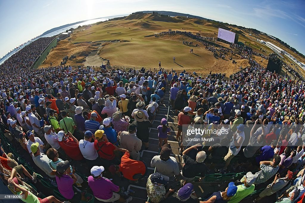 US Open Scenic view of Dustin Johnson in action missing putt on No 18 green during Sunday play at Chambers Bay GC Johnson missed putt that would have...