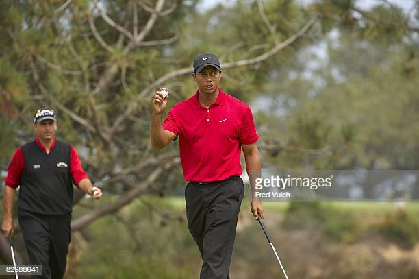US Open Tiger Woods after making putt during Monday playoff round vs Rocco Mediate at Torrey Pines GC La Jolla CA 6/16/2008 CREDIT Fred Vuich