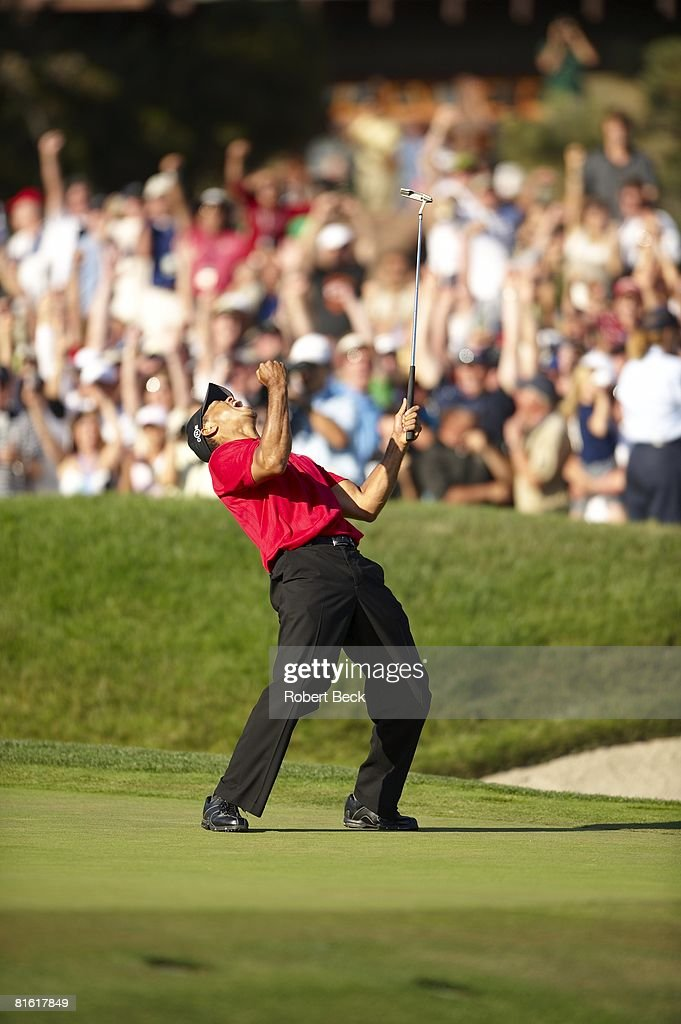 Golf US Open Tiger Woods victorious after making birdie putt on No 18 during Sunday play at Torrey Pines GC Putt forced Monday playoff La Jolla CA...