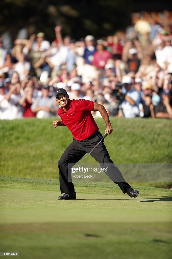 US Open Tiger Woods victorious after making birdie putt on No 18 during Sunday play at Torrey Pines GC Putt forced Monday playoff Cover La Jolla CA...