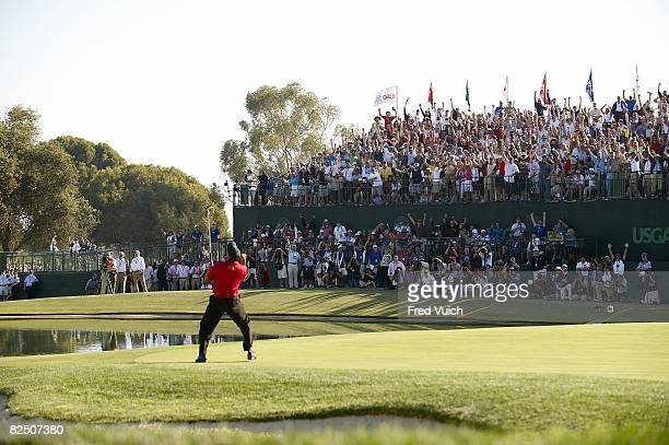 US Open Tiger Woods victorious after making birdie putt on No 18 during Sunday play at Torrey Pines GC Putt forced Monday playoff La Jolla CA...