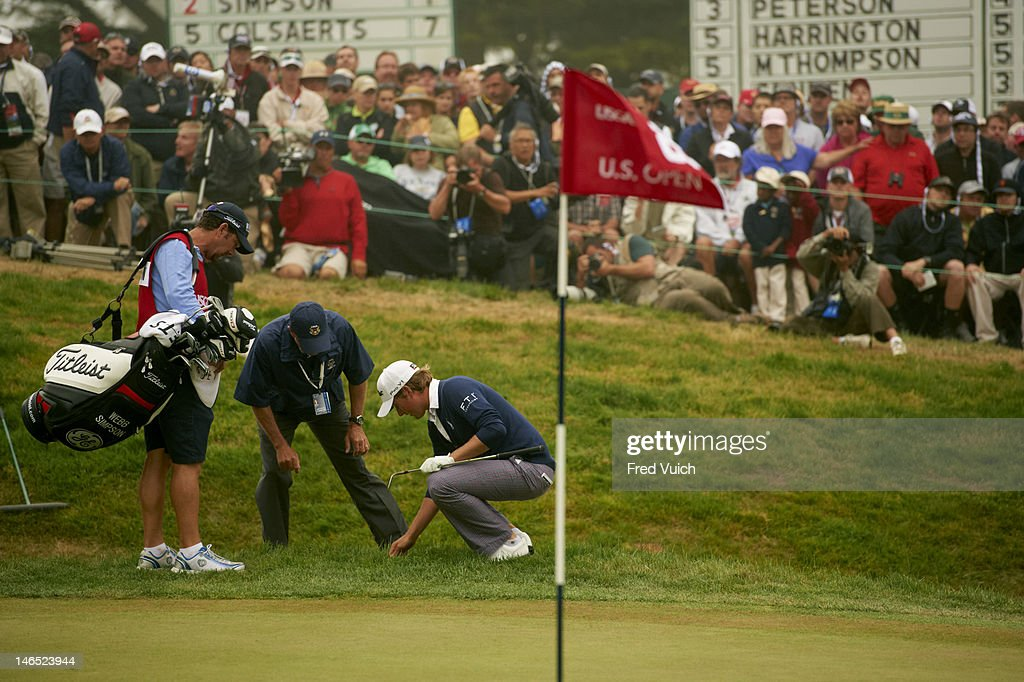 US Open Webb Simpson searching for ball in rough during Sunday play at Lake Course of The Olympic Club San Francisco CA CREDIT Fred Vuich
