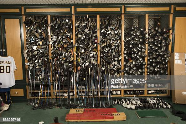 View of clubs and equipment belonging to Arnold Palmer in shelves during photo shoot in workshop at Latrobe Country Club At the time of his death...