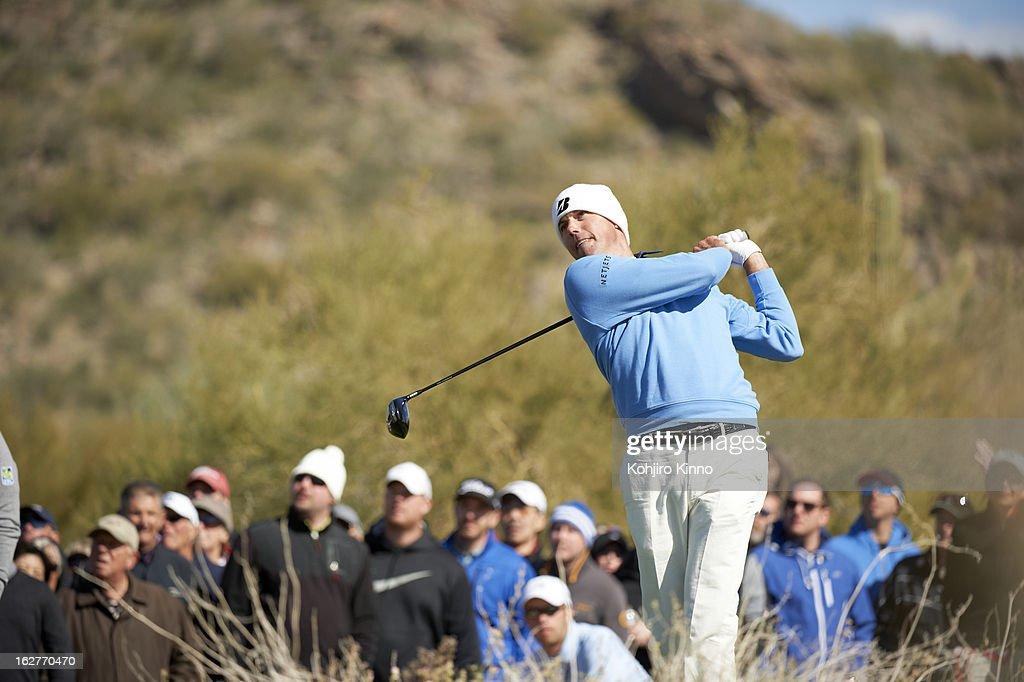 Matt Kuchar in action, drive during Sunday play at Ritz-Carlton GC of Dove Mountain. Kohjiro Kinno F132 )