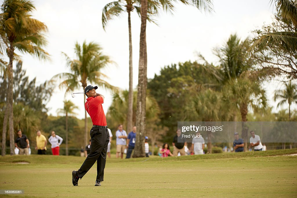 Tiger Woods in action during Sunday play at TPC Blue Monster Course of Doral Resort & Spa. Fred Vuich F89 )