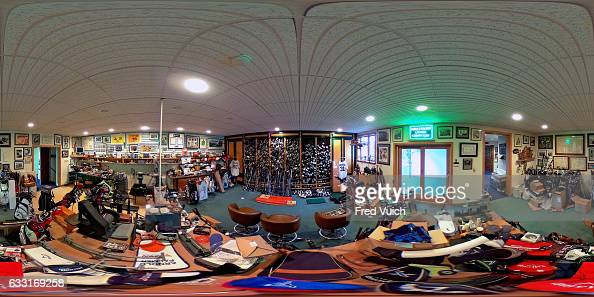 Wide view of clubs and equipment belonging to Arnold Palmer on display during photo shoot in workshop at Latrobe Country Club At the time of his...