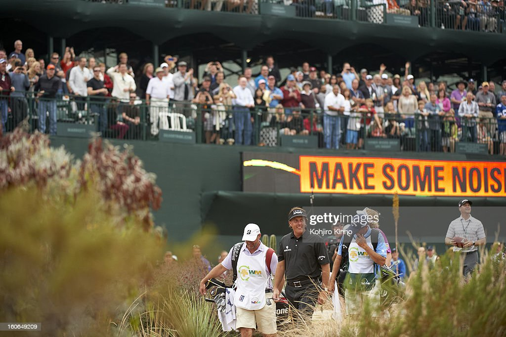 Phil Mickelson on No 16 green during Sunday play at TPC Scottsdale. Kohjiro Kinno F533 )